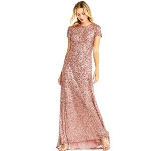 Adrianna Papell scoop back sequin gown C Rose Gold